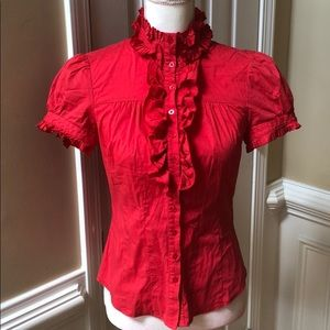 Bebe small red ruffled button down top
